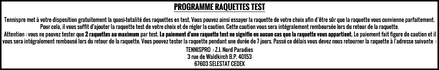RAQUETTES TEST