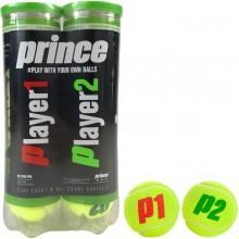 BIPACK DE 4 BALLES PRINCE NX TOUR PRO (PLAYER 1 & PLAYER 2)
