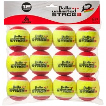 SACHET DE 12 BALLES STAGE 3 UNLIMITED JAUNES/ROUGES