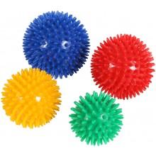 LOT DE 4 BALLES HERISSON PVC SOUPLE DIAM 7,8,9 ET 10CM