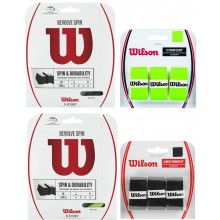PACK CORDAGE WILSON REVOLVE SPIN VERT 1.30MM (12 METRES) + SURGRIPS WILSON PRO OVERGRIP SOFT NOIR