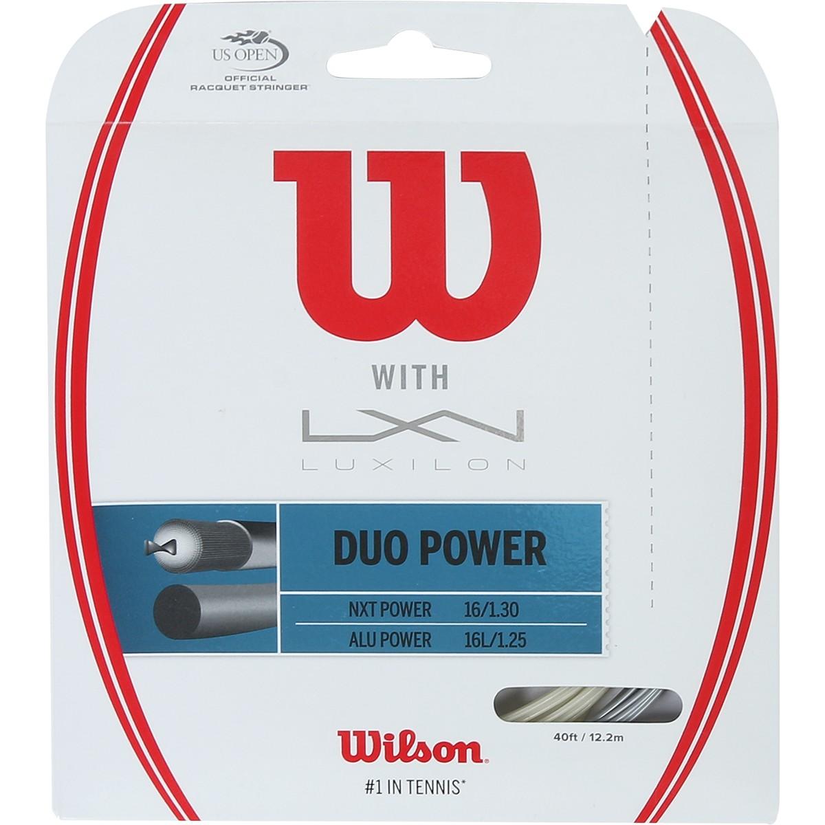 CORDAGE WILSON DUO POWER : LUXILON ALU POWER & WILSON NXT POWER 1.25 (12.20 METRES)