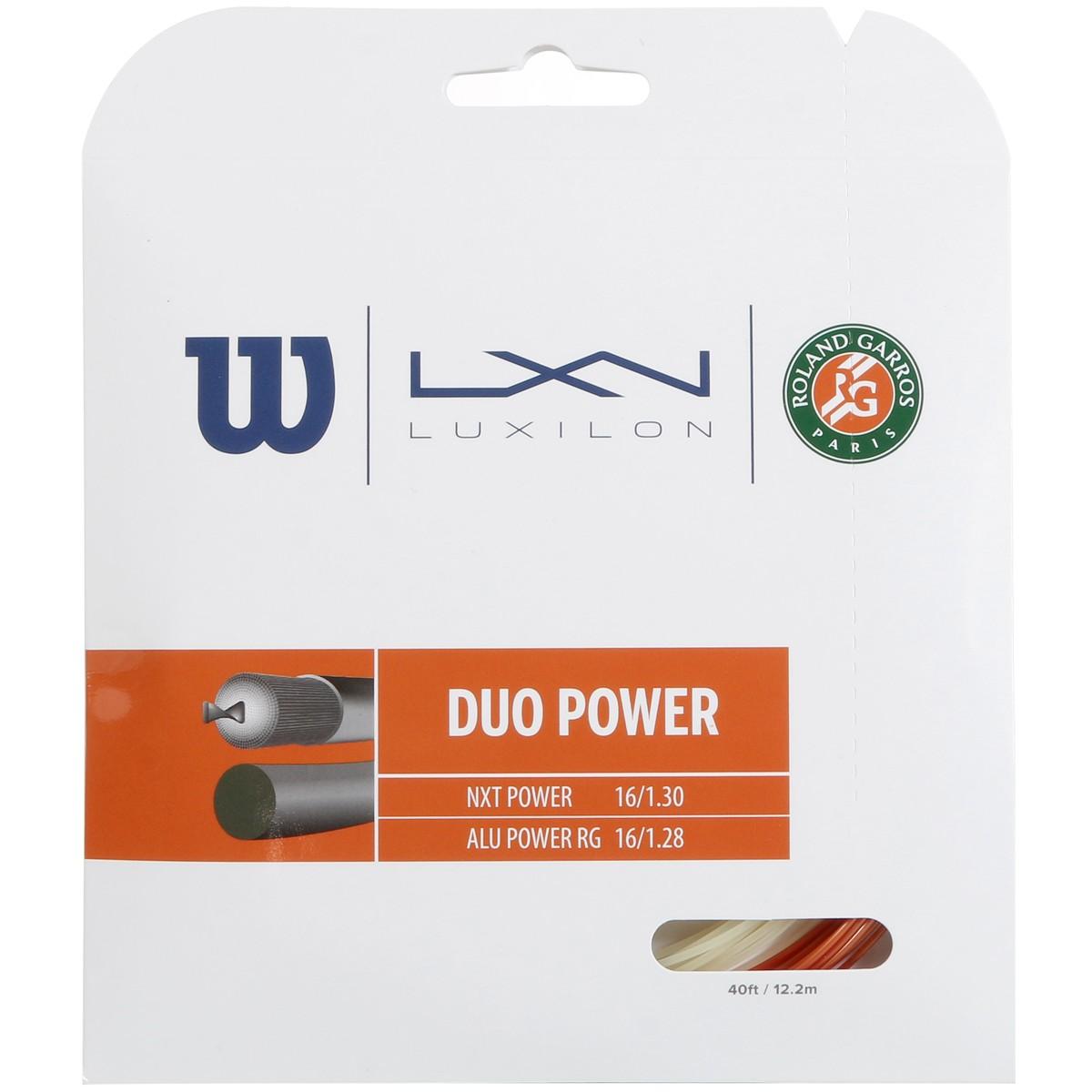 CORDAGE WILSON DUO POWER ROLAND GARROS : LUXILON ALU POWER & WILSON NXT POWER 1.25 (12.20 METRES)