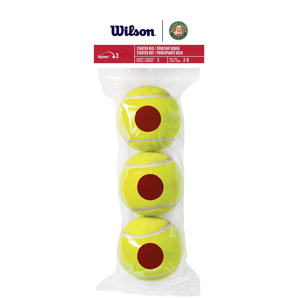 SACHET DE 3 BALLES WILSON ROLAND GARROS STARTER RED