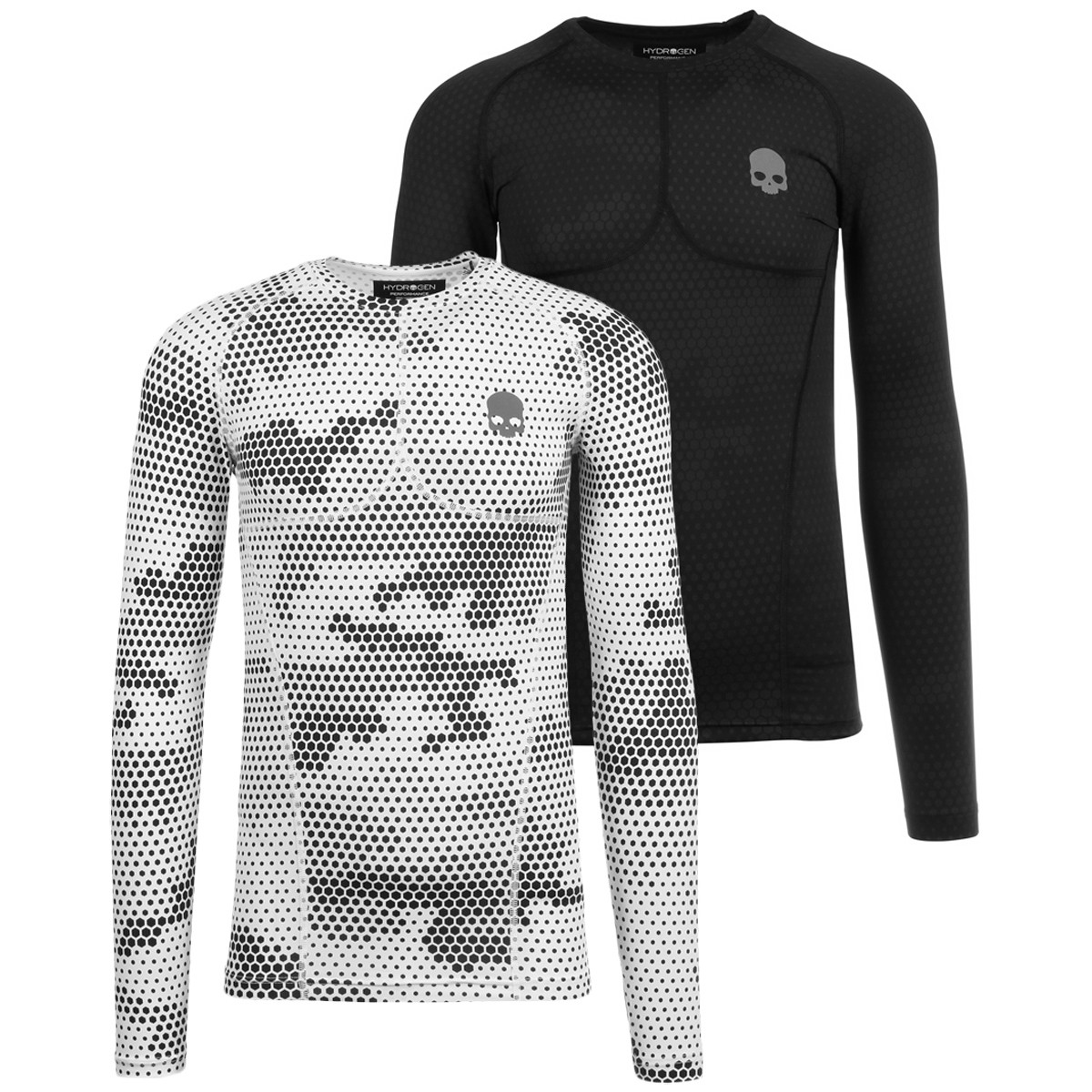 T-SHIRT COMPRESSION HYDROGEN PRINTED SECOND SKIN MANCHES LONGUES